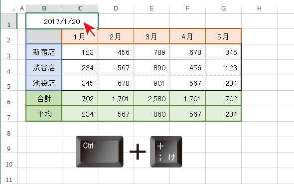Excelで今日の日付を入力するショートカットはCtlrと+