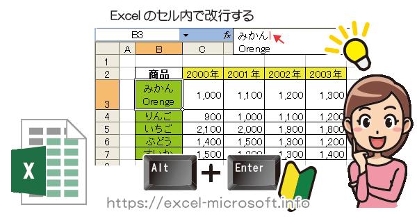 Alt+Enterでエクセル(Excel)のセル内で改行できる
