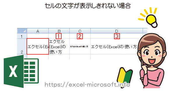 Excelでセルに入力した文字が全部読めない場合