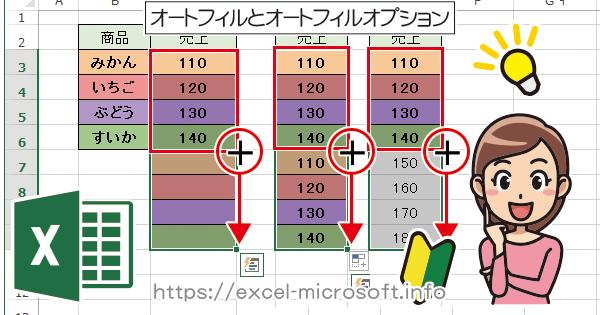 オートフィル(連続データ)と通常コピーの切り替え|Excelの使い方