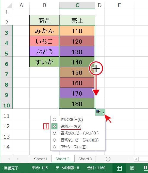 Excelのオートフィルは値も書式も連続データとしてコピーされます。