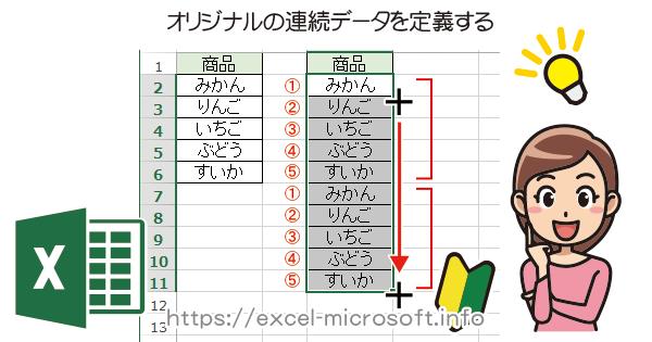 オリジナルの連続データを作成/登録する方法|Excelの使い方