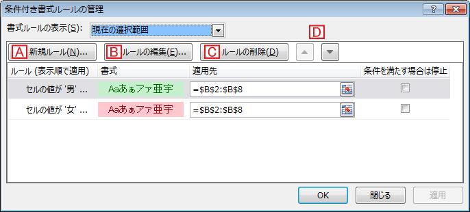 [条件付き書式ルールの管理]ダイアログで設定を追加/修正/削除