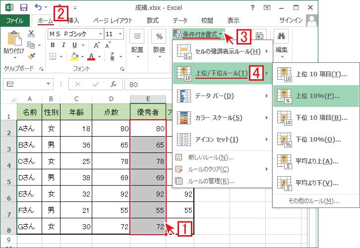 エクセルの条件付き書式で上位/下位のデータを強調表示する