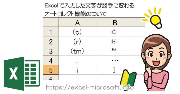 エクセルで小文字のiが勝手に大文字になる、文字が自動で記号に変換される