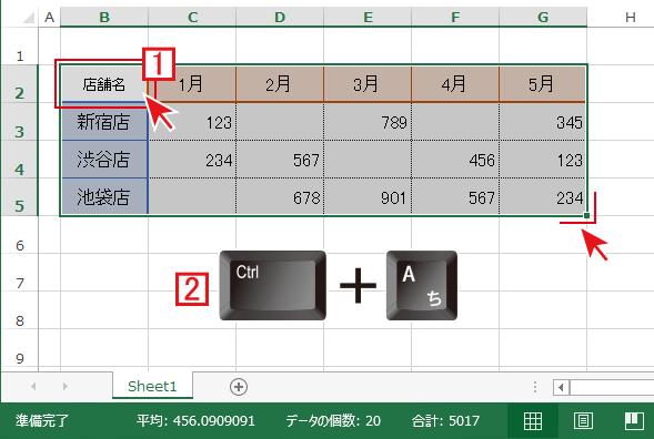 Ctrl+Aで表全体が選択される