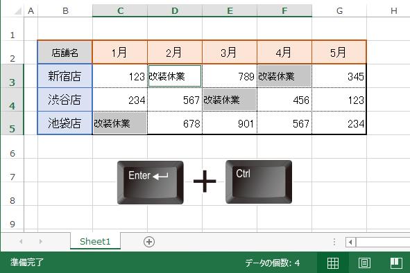 選択された空白セルに一気にすべて同じ文字を入力する場合は[Enter]+[Ctrl]