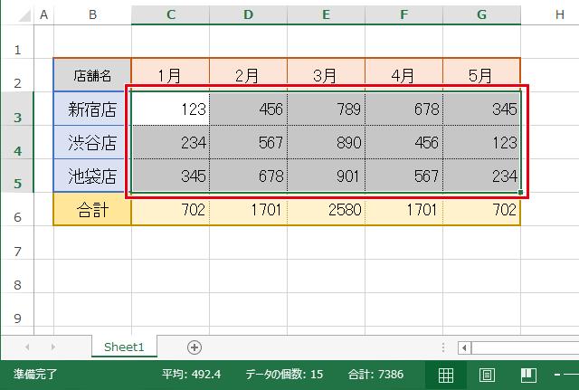Excelの表中の数字が入力されたセルのみを選択