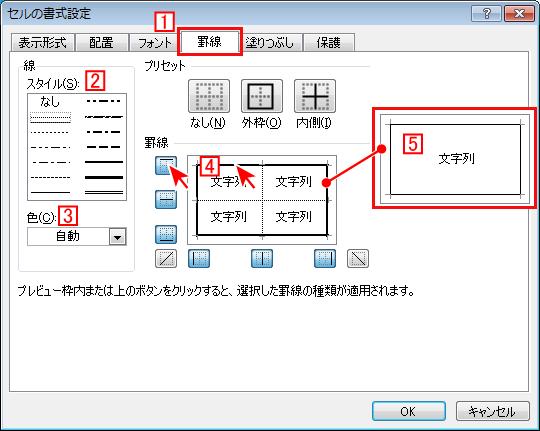 エクセル(Excel) セルの書式設定から罫線の装飾をする