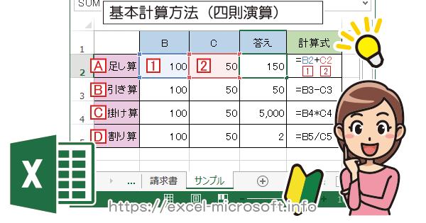 四則演算(足し算/引き算/掛け算/割り算)|Excel(エクセル)の使い方