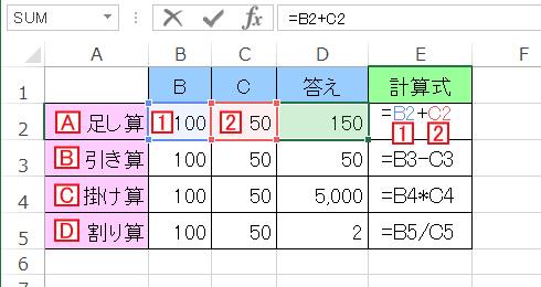エクセル(Excel)で四則演算(足し算/引き算/掛け算/割り算)を行う