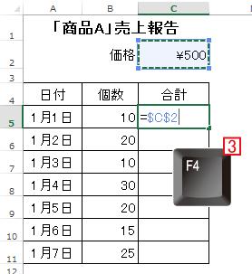 エクセル(Excel)では[F4]キーで参照するセルを固定