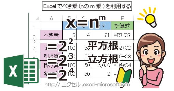 べき乗(nのm乗),平方根(ルート),立方根を利用|Excel(エクセル)の使い方