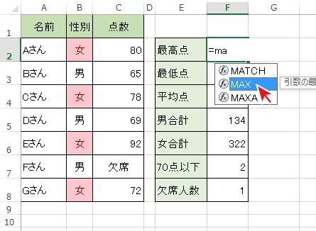 =(イコール)後に関数名の一部を入力し、一覧からMAX関数を選択