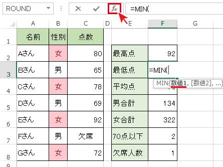 関数名を選択後[FX]ボタンを押下でMiN「関数の引数」ダイアログボックスを開く