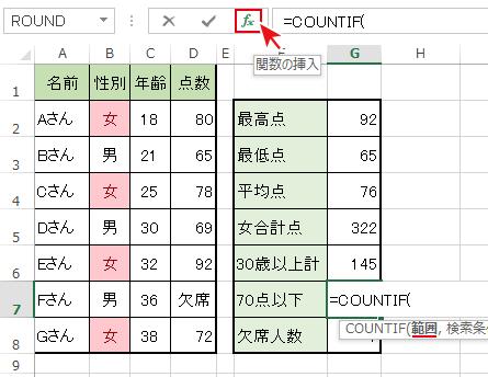 関数名を選択後[fx]ボタンを押下でCOUNTIF「関数の引数」ダイアログボックスを開く