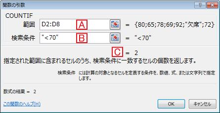 COUNTIF「関数の引数」ダイアログボックス