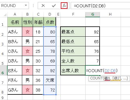 COUNT「関数の引数」ダイアログボックス