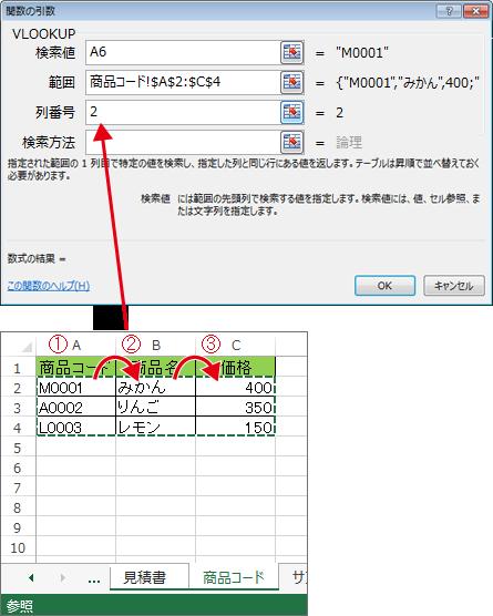VLOOKUPで参照コピーしたいセル位置を指定