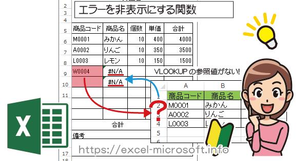 #N/Aエラーを非表示にするIFNA関数|Excel(エクセル)の使い方