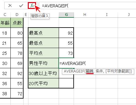 関数名を選択後[fx]ボタンを押下でAVERAGEIF「関数の引数」ダイアログボックスを開く