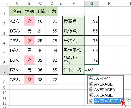 =(イコール)後に関数名の一部を入力し、一覧からAVERAGEIFS関数を選択