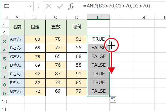 AND関数の条件に応じてTRUE・FALSEが判定されます