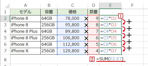 Excelで掛け算の合計を求める場合