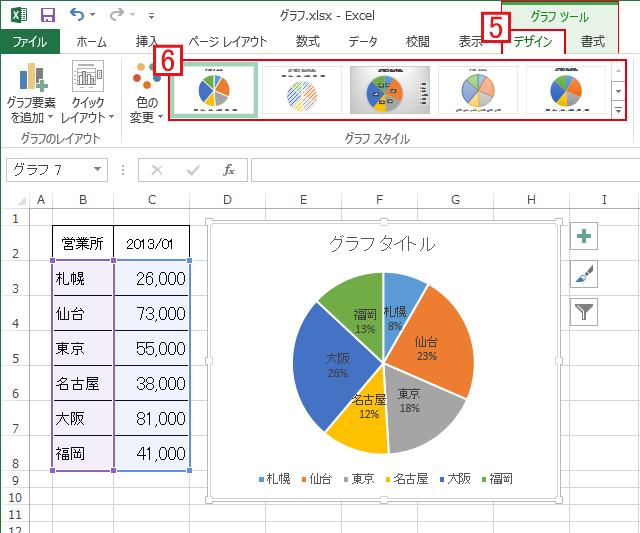 グラフツール→デザインで円グラフの色などを決定