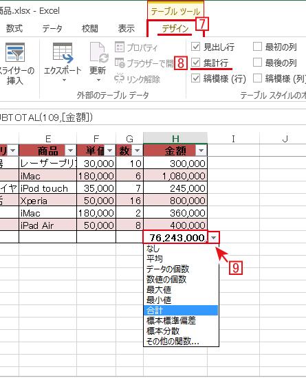 エクセルのテーブルでは集計行にチェックを入れるだけで簡単に計算が可能