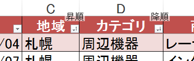 フィルターをオンにしていた場合,並び替えのキー項目のアイコンが変わる